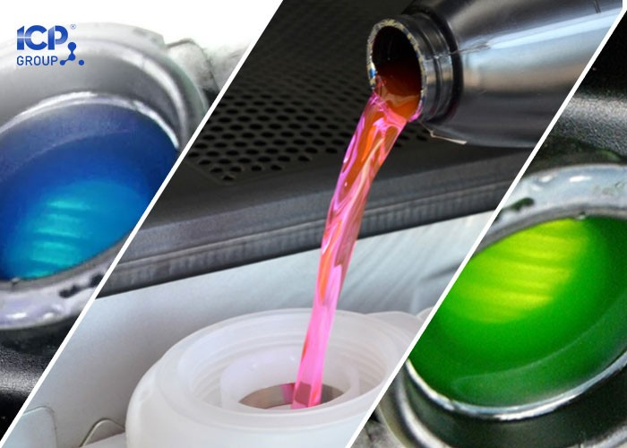 Dung dịch nước làm mát động cơ có nhiều màu sắc.