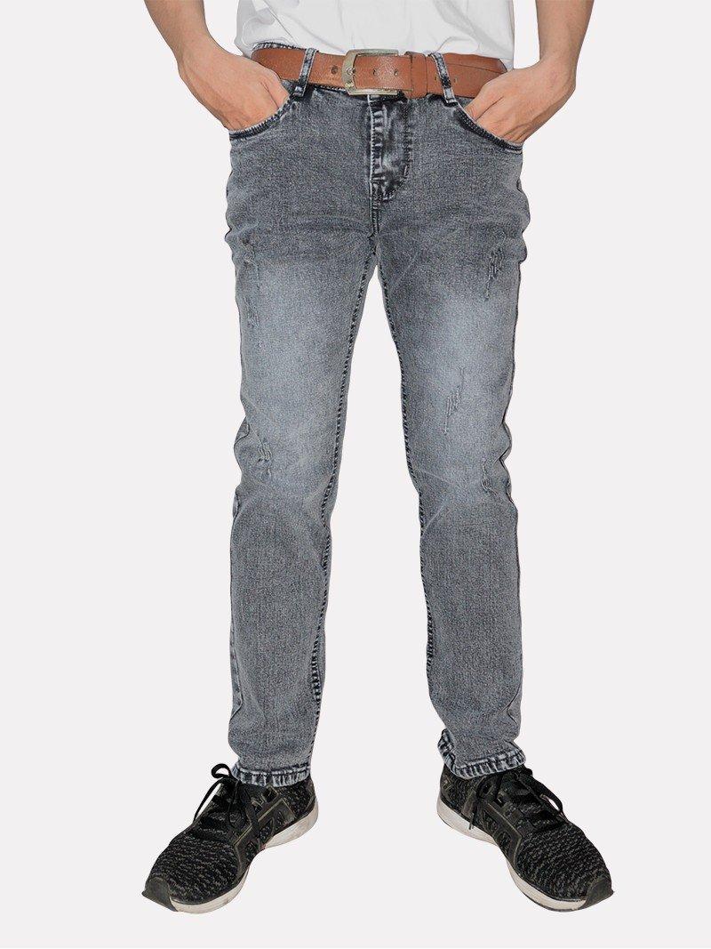 Quần jeans nam wash bạc trắng đen